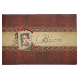 Vintage Gold Believe with Santa and Gold Lace Doormat