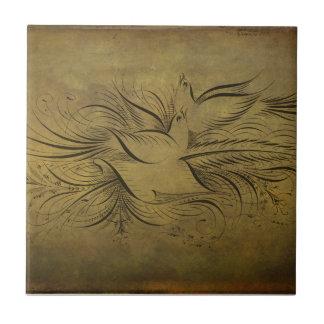 Vintage Gold Birds Line Drawings Tile
