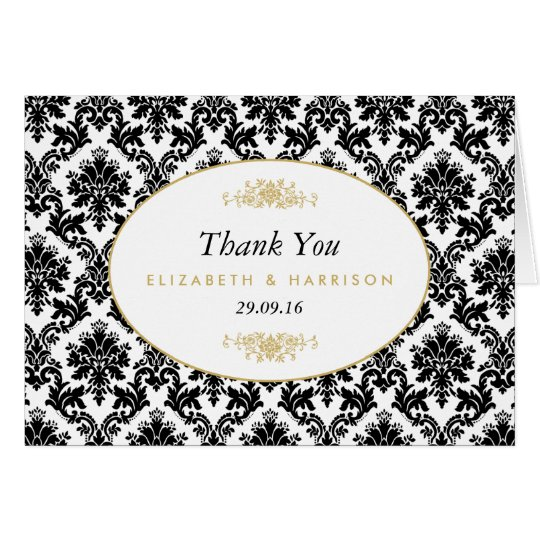 Vintage Gold Black & White Damask Wedding Thank Card
