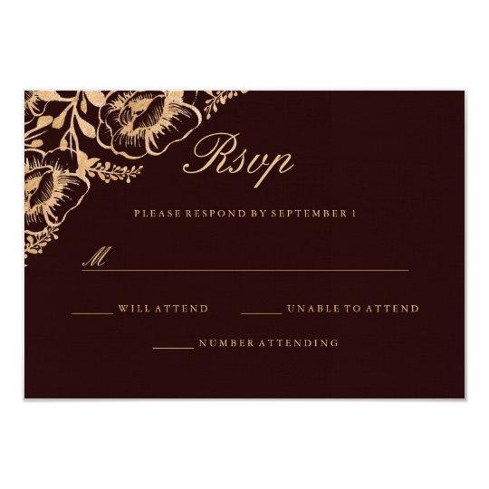 Vintage Gold Burgundy Floral Wedding RSVP Card