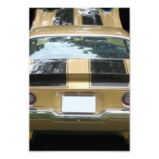 """Vintage gold classic car with black racing stripes 3.5"""" x 5"""" invitation card"""