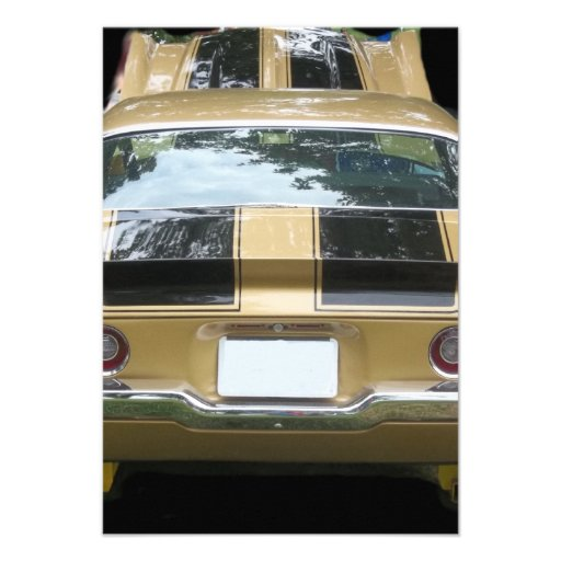 Vintage gold classic car with black racing stripes personalized invites