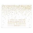 Vintage Gold Confetti Bridal Shower Recipe Cards