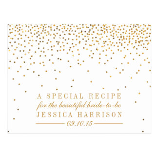 Vintage Gold Confetti Bridal Shower Recipe Cards