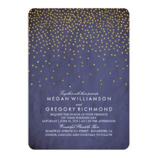 "Vintage Gold Confetti Navy Wedding 5"" X 7"" Invitation Card"