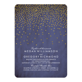 Vintage Gold Confetti Navy Wedding Card