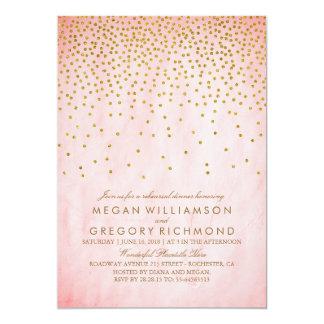 "Vintage Gold Confetti Pink Rehearsal Dinner 5"" X 7"" Invitation Card"