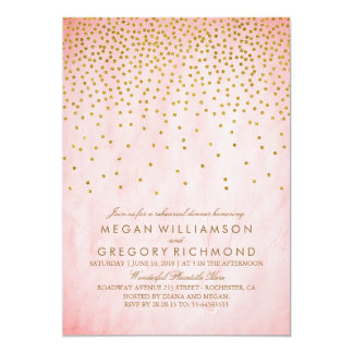 Vintage Gold Confetti Pink Rehearsal Dinner Card