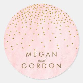 Vintage Gold Confetti Pink Wedding Round Sticker