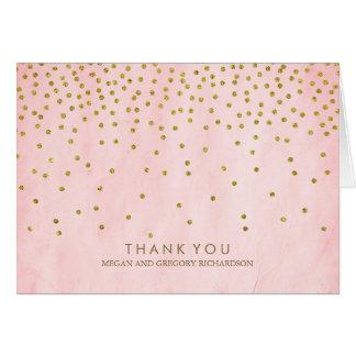Vintage Gold Confetti Pink Wedding Thank You Card
