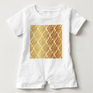 Vintage,gold,damask,floral,pattern,elegant,chic,be Baby Romper