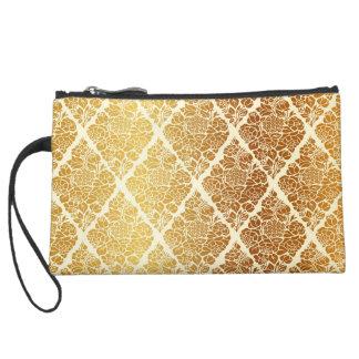 Vintage,gold,damask,floral,pattern,elegant,chic,be Suede Wristlet