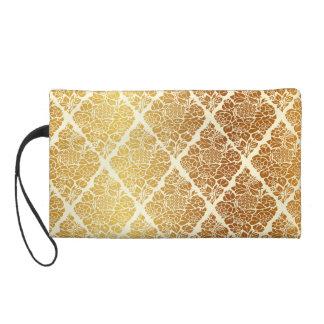 Vintage,gold,damask,floral,pattern,elegant,chic,be Wristlet
