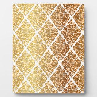 Vintage,gold,damask,floral,pattern,elegant,chic, Plaque