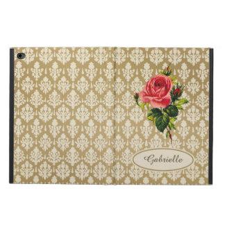 Vintage Gold Damask Pattern Pink Rose and Name
