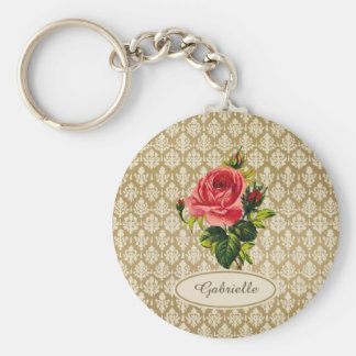 Vintage Gold Damask Pattern Pink Rose and Name Keychain