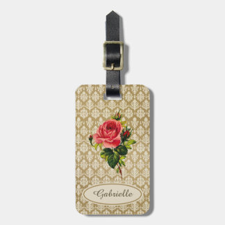 Vintage Gold Damask Pattern Pink Rose and Name Travel Bag Tag