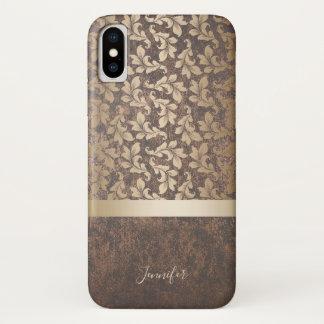 Vintage Gold Damask Pattern Stylish Copper Texture Case-Mate iPhone Case