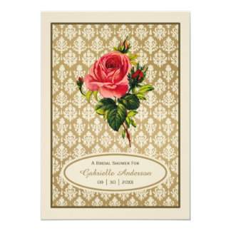 Vintage Gold Damask Pink Rose Bridal Shower Card