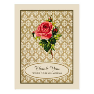Vintage Gold Damask Rose Bridal Shower Thank You Postcard