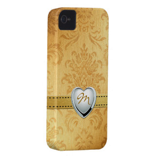 Vintage Gold Damask with Monogram iPhone 4 Cover