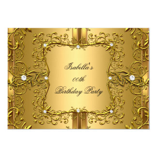 Vintage Gold Diamond Floral Birthday Party Card