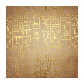 Vintage Gold Egyptian Hieroglyphics Paper Print
