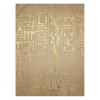 Vintage Gold Egyptian Hieroglyphics Paper Print Tablecloth