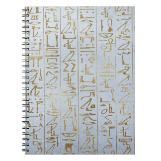 Vintage Gold Egyptian Paper Print Spiral Notebooks