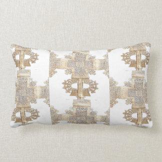Vintage Gold Ethiopian Cross Lumbar Pillow