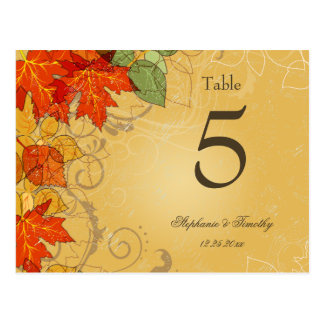 Vintage gold fall leaves wedding table number postcard