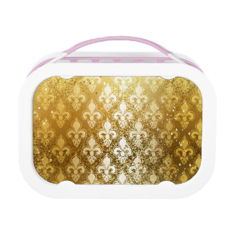 Vintage,gold,fleur de lis,antique,vintage,chic,fun lunch box