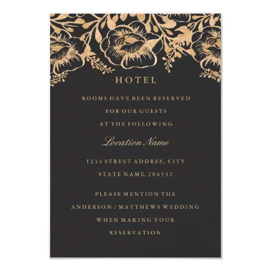 Vintage Gold Floral Wedding Hotel Accommodation Card