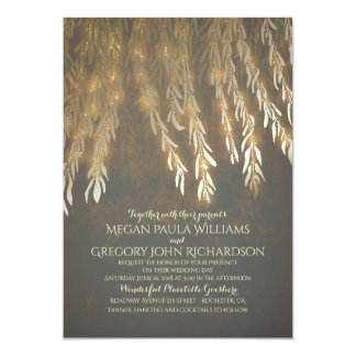 "Vintage Gold Foil Effect Willow Tree Wedding 5"" X 7"" Invitation Card"