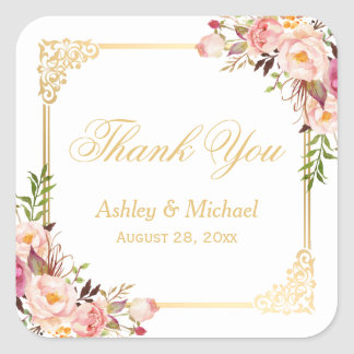Vintage Gold Frame Floral Thank You Wedding Favor Square Sticker