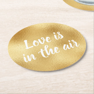 Vintage Gold Glam Love Elegant Wedding Party Round Paper Coaster