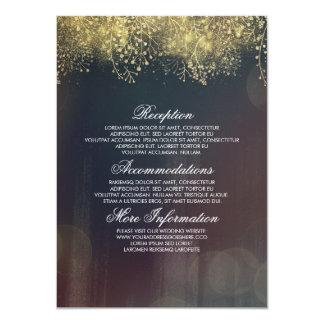 Vintage Gold Glitter Baby's Breath Wedding Details Card