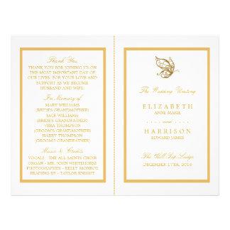 Vintage Gold Glitter Butterfly Wedding Program