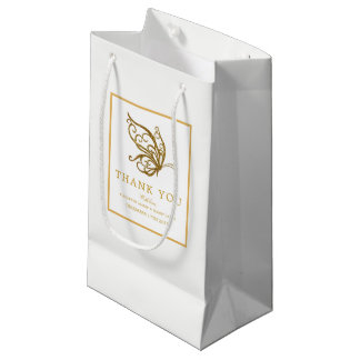 Vintage Gold Glitter Butterfly Wedding Small Gift Bag