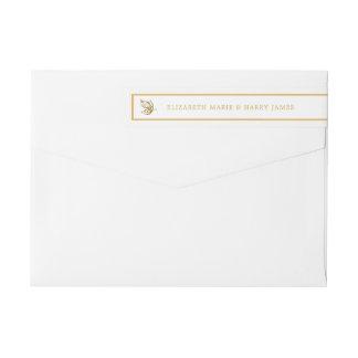 Vintage Gold Glitter Butterfly Wedding Wraparound Return Address Label