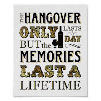 Vintage Gold HANGOVER Quote Sign Print