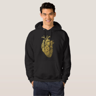 Vintage Gold Heart Men's Hooded Sweatshirt