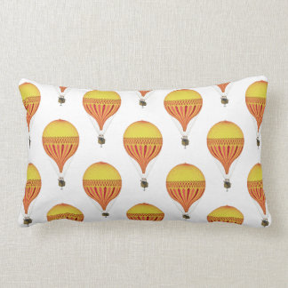 Vintage Gold, Hot Pink, Fuchsia Hot Air Balloons Lumbar Pillow
