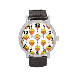 Vintage Gold, Hot Pink, Fuchsia Hot Air Balloons Wrist Watch