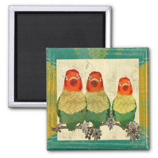 Vintage Gold Love Birds Magnet