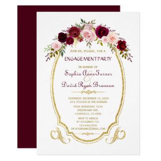 Vintage Gold Marsala Floral Engagement Party Card