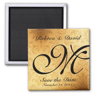 Vintage Gold Monogram Save the Date Square Magnet