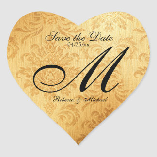 Vintage Gold Monogram Save the Date Stickers