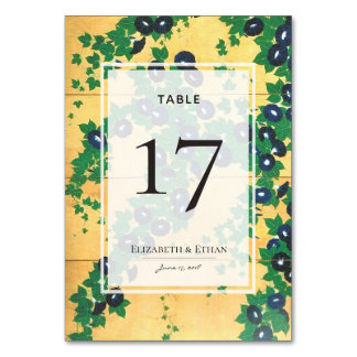Vintage Gold Morning Glories Table Number Card