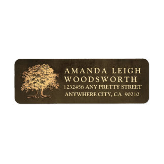 Vintage Gold Oak Tree Wedding Address Labels
